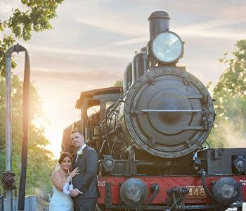 steam train wedding photo